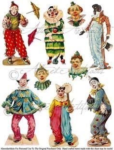 Printable Clowns Clip Art Printable Vintage Circus Preformers Paper Doll Scrap Puppets Foolish Folies Digital Collage Sheet Instant Download