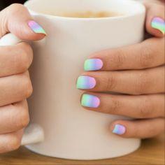 Pastel Rainbow Effect Nails Sticker