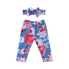 Graceful Classic Floral Leggings With Matching Headband from kidspetite.com!  Adorable & affordable baby, toddler & kids clothing. Shop from one of the best providers of children apparel at Kids Petite. FREE Worldwide Shipping to over 230+ countries ✈️  www.kidspetite.com  #girl #infant #leggings #clothing #baby #newborn