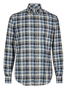 Navy Mix Pure Cotton Thermal Flannel Highlight Checked Shirt