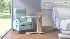 The Opus family also includes a mobile overbed table that provides an adaptable area where patients, families and clinicians can gather, connect and share.