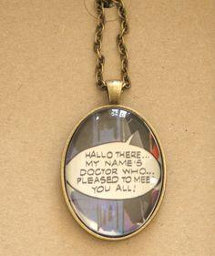 Dr Who necklace - vintage book page pendant