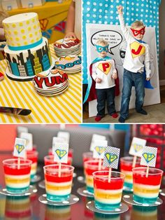 love the layered jelly colours...superhero party
