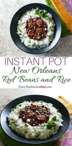 Instant Pot Red Beans and Rice is an authentic New Orleans recipe that's made with andouille sausage and ham hock, this red beans and rice. This recipe is simple yet so flavorful!  Perfect for feeding a crowd, Instant Pot Red Beans and Rice tastes as though you've simmered it for hours on the stovetop, and is even better the next day. Instructions included for quick soak dried beans. #instantpot #redbeansandrice #cajun #creole #neworleans #mardigras via @paintkitchenred