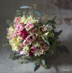 Bespoke Bouquets   Zita Elze Flowers ivory, raspberry and blush blooms featuring anemones and berried eucalyptus