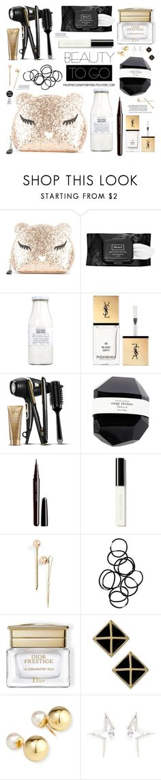 """""""Beauty to Go!"""" by palmtreesandpompoms ❤ liked on Polyvore featuring beauty, Furla, Kat Von D, Rituals, Yves Saint Laurent, GHD, Marc Jacobs, Bobbi Brown Cosmetics, L. Erickson and Monki"""