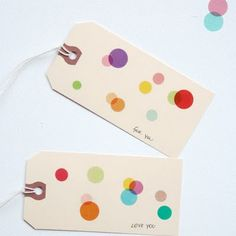 shipping tags....  layered with pretty transparent dots