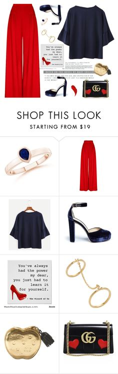 """Red and Blue"" by annbaker ❤ liked on Polyvore featuring Jimmy Choo, Ecru, Gucci and Charlotte Tilbury"