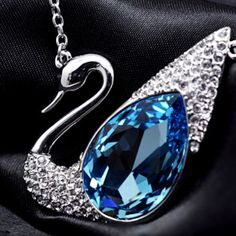 White Gold Crystal Swan Necklace Glamorous and elegant! Not available for mini wholesale. Jewelry Necklaces