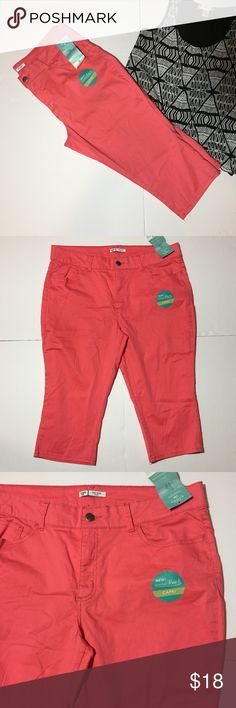 """NWTs! Lee Rider Mid Rise Coral Capris NWTs! Lee Rider Mid Rise Coral Capris. Size 18 measures flat: 19"""" across top, 23"""" across hips, 18"""" inseam. 98% cotton, 2% spandex. Super soft material. From tag- """"slimming stretch denim to slim & contour."""" 429/300/050917 Lee Pants Capris"""