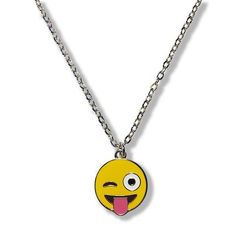 Tongue Wink Emoji Necklace : Silver Chain Emoji Necklace : Available At Everything Emoji