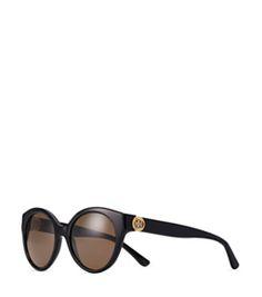 Black Tory Burch Reva Painted-logo Round Sunglasses