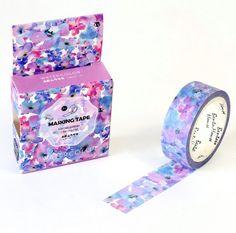 Blue Purple Flowers Japanese Washi Tape Masking by Callicrafty