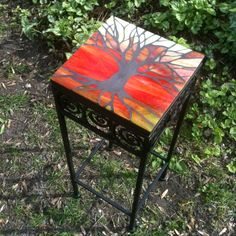 Mosaic Table  Using grout as the tree and stained glass as everything else. Tree of Life in Silhouette by smashglassworks, $275.00
