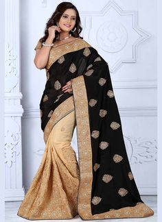 Cream & Black #Wholesale #Wedding Party Wear #IndianSarees @ http://www.suratwholesaleshop.com/sarees?view=catalog  #Suratwholesaler #Bulksarees #Wholesaler #SuratWholesaler