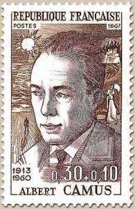 Albert Camus auf französischer Briefmarke von 1967