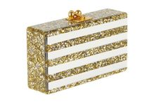 Edie Parker Jean Striped Gold Silver Square Confetti Clear Mirror Handbag Clutch