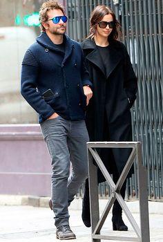Street style do casal Irina Shayk e Bradley Cooper.