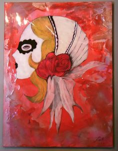 """Mujer - Rojo  Original Study   Mixed Media, Distressed Paper, Lacquer on Canvas   18"""" x 24"""""""