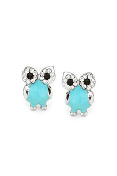 Turquoise Crystal Owl Earrings