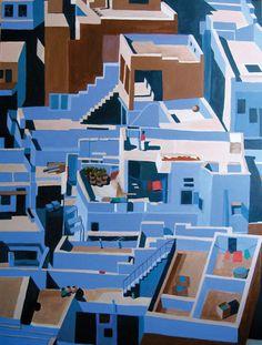 "Toni Silber-Delerive; Acrylic, 2009, Painting ""Judhpur, India"""