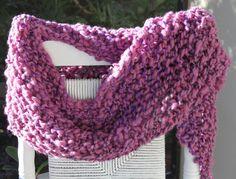 Hand Knit Bulky Scarf mini Shawl, in  Purple, Pink, Red Yarn, of Super Soft Handspun Hand Dyed Bulky Yarn.