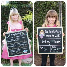 Birthday chalkboard and Tooth Fairy~Reusable Double Sided Chalkboard, Includes tooth receipts! Tooth Fairy accessories. by wukit on Etsy https://www.etsy.com/listing/240251468/birthday-chalkboard-and-tooth