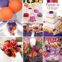 Purple and Orange Wedding Colors - Purple with orange works for late summer or fall. It may not be a combination that is first thought of but as you can see, it is really lovely.