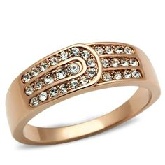 New Arrival Satellite Design High Quality Long Lasting Vacuum Ionic Plating Rose Gold Lust Crystal Belt Ring $13.13