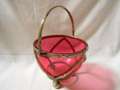 French Antique Cranberry Red Glass Bowl with by MonsieurBrocanteur,