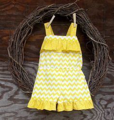Girls Romper Yellow and white girls short all  by SouthernSister2, $30.00