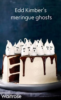 For the ultimate Halloween centrepiece try Edd Kimber's nutty butterscotch cake topped with spooky meringue ghosts. For the full recipe, see the Waitrose website.