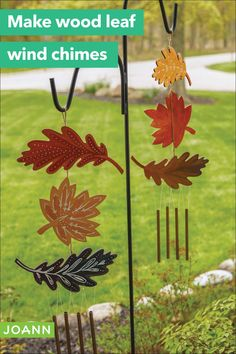 It's about chime! Make these fun garden chimes with leaves you paint & decorate. You'll totally get in tune with nature. Creative Skills, Joanns Fabric And Crafts, Easy Diy Projects, Jewellery Display, Amazing Gardens, Painting On Wood, Craft Stores, Wind Chimes, Diy Jewelry