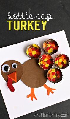 Painted Bottle Cap Turkey Craft f #Thanksgiving craft for kids to make | CraftyMorning.com