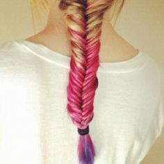 ombré hair pink to purple what I'm doing this summer <3