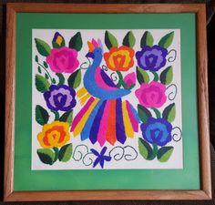 "Crewel Art Finished Parrot Bird Flowers Vintage Retro Framed Matted 22"" x 22"" #Unbranded"