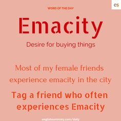 Emacity Meaning and Use in english The post Emacity Meaning and Use in english appeared first on Woman Casual - Life Quotes Interesting English Words, Learn English Words, English Phrases, English Idioms, English Writing, English Lessons, English Vinglish, English Grammar, Good Vocabulary Words