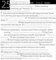 Love this! I wish more people would teach their kids to use good manners... - 25 Manners Kids Should Know
