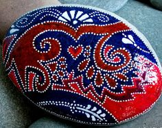 bandana skies / painted stones / painted rocks / rock art / paperweights/ boho decor / boho style / hippie / hand painted rocks / cape cod
