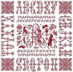 Lettre I en point de croix rouge dans le marquoir nomé Monogramme I de Clorami Designs
