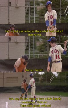 Aye Aye , I'm Just Trying to have a little friendly conversation. - The Sandlot my favourite movie ever! Tv Quotes, Movie Quotes, Funny Quotes, Funny Memes, Hilarious, Funny Shit, Sandlot Quotes, The Sandlot, Sandlot Benny