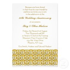 Gold Trim Wedding Anniversary Invitations Yes I can say you are on right si. Gold Trim W 50th Wedding Anniversary Invitations, Wedding Invitation Video, Anniversary Parties, Gold Invitations, Anniversary Ideas, Beer Birthday Party, Invitation Wording, Invitation Templates, Autumnal