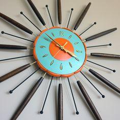 VINTAGE STARBURST EAMES MID-CENTURY MODERN WALL CLOCK