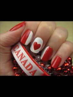 I like this idea for Canada day nails