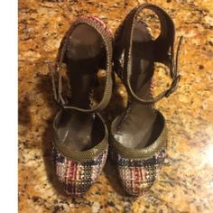 Chanel Tweed Snakeskin Shoes Sz37.5
