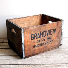vintage brooklyn dairy deposit box crate by lacklusterco on Etsy