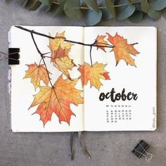 15 Cozy Bullet Journal Layouts Perfect For Fall - Bullet Planner Ideas - - Bullet journal layout and spread ideas that will get you in the mood for Fall. All the bright color and cozy inspiration you ever dreamed for! Bullet Journal 2019, Bullet Journal Notebook, Bullet Journal School, Bullet Journal October Theme, Bullet Journal Month Page, Bullet Journal Leaves, Autumn Bullet Journal, Monthly Bullet Journal Layout, Bellet Journal