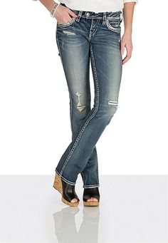 silver jeans co. ® Tuesday destructed embellished jeans - maurices.com