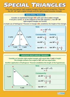 Purchase our Set of 10 Maths A-level Poster to help improve understanding and reinforce learning. The set provides a comprehensive collection of Maths A-level posters and offers great value for money. Math Tutor, Teaching Math, Teaching Geometry, Triangle Maths, Gcse Maths Revision, Math Charts, Math Poster, Poster Poster, Math Formulas