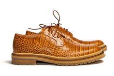 Dries Van Noten Structure Rust Derby Shoes